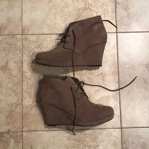 Dolce Vita wedge booties with ties (lace up)